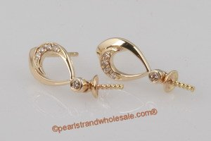 Gold Stud Earrings Mountting